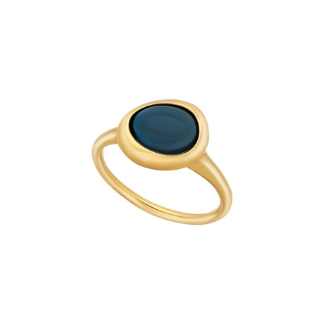 Fred of Paris Belle Rives 18k Yellow Gold London Blue Topaz Ring // Ring Size: 6