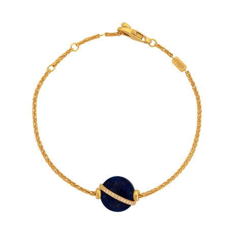 Fred of Paris Baie De Anges 18k Yellow Gold Diamond + Lapiz Lazuli Bracelet