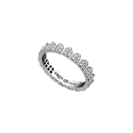Fred of Paris Une Ile D'or 18k White Gold Diamond Ring // Ring Size: 6.5