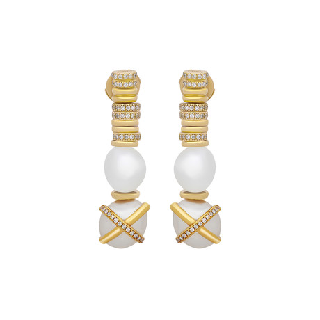Fred of Paris Baie De Anges 18k Yellow Gold Diamond + Freshwater Pearl Earrings II
