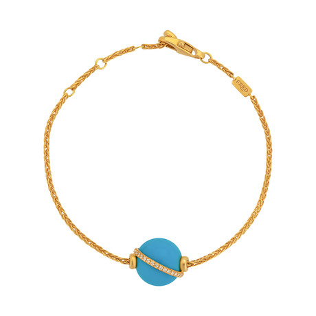 Fred of Paris Baie Des Anges 18k Yellow Gold Diamond + Turquoise Bracelet