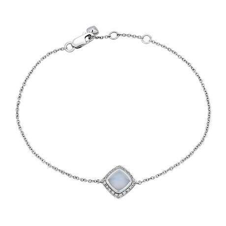 Fred of Paris Paindesucre 18k White Gold Diamond + Chalcedony Bracelet