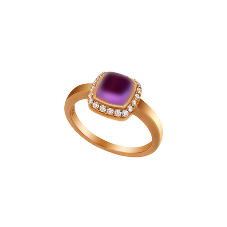 Fred of Paris Paindesucre 18k Rose Gold Diamond + Amethyst Ring // Ring Size: 5.75