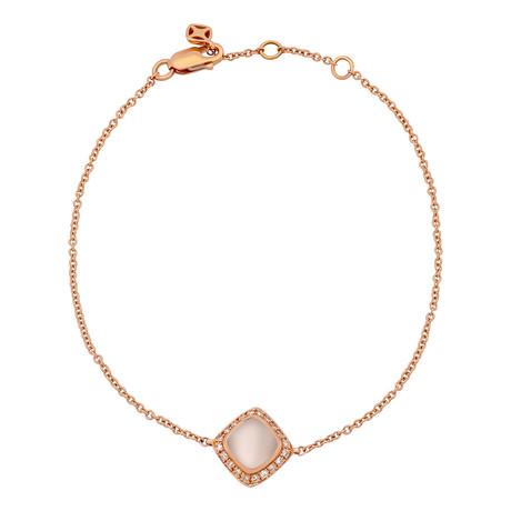 Fred of Paris Paindesucre 18k Rose Gold Diamond + Pink Quartz Bracelet