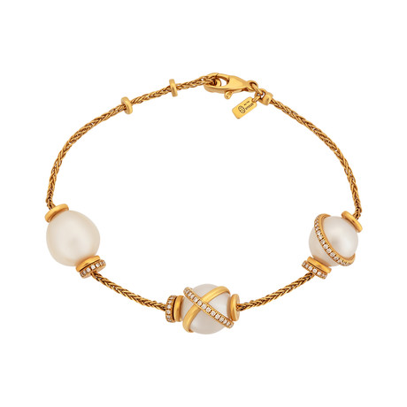Fred of Paris Baie Des Anges 18k Yellow Gold Diamond + Freshwater Pearl Bracelet II