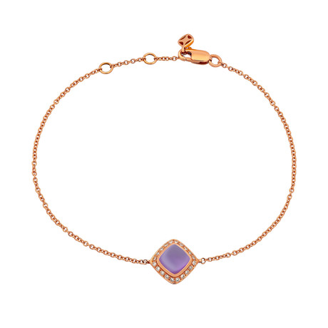 Fred of Paris Paindesucre 18k Rose Gold Diamond + Amethyst Bracelet