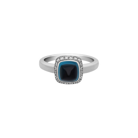 Fred of Paris Paindesucre 18k White Gold London Blue Topaz Ring // Ring Size: 5.25