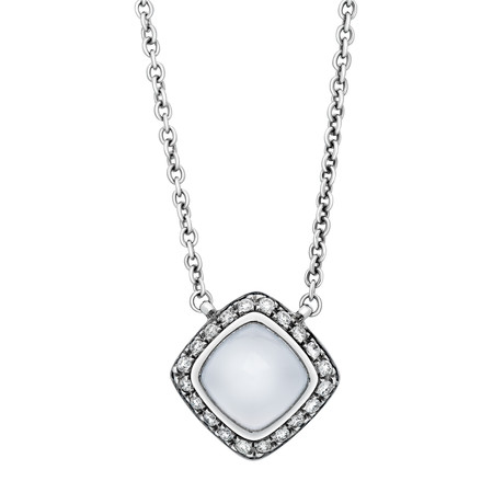 Fred of Paris Paindesucre 18k White Gold Diamond + Chalcedony Pendant Necklace