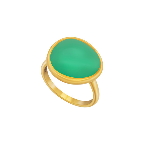 Fred of Paris Belles Rives 18k Yellow Gold Chrysoprase Ring // Ring Size: 5.75
