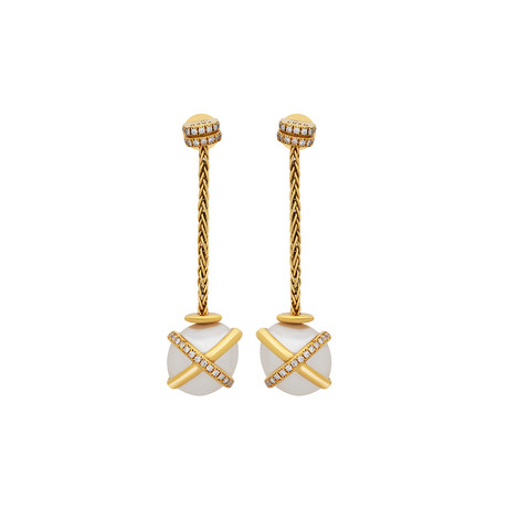 Fred of Paris Baie De Anges 18k Yellow Gold Diamond + Freshwater Pearl Earrings I