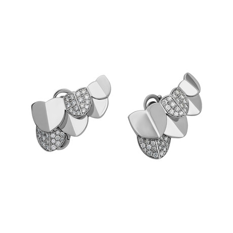 Fred of Paris Une Ile D'or 18k White Gold Diamond Earrings
