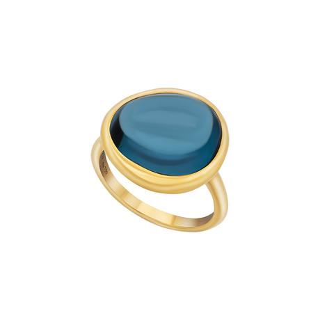 Fred of Paris Belles Rives 18k Yellow Gold London Blue Topaz Ring // Ring Size: 6