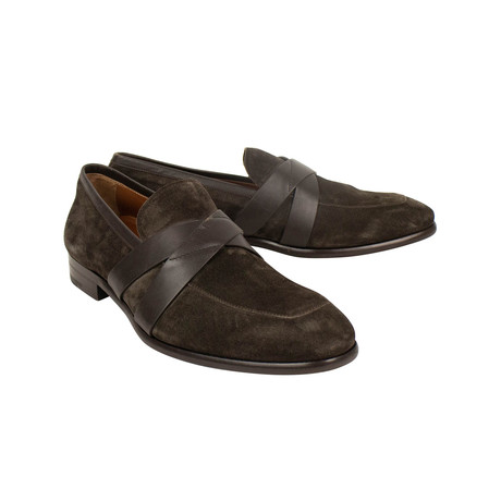 Criss-Cross Penny Loafers // Brown (US: 7)