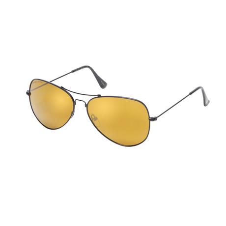 Eagle Eyes Optic // Memory Flex Polarized Sunglasses // Black + Gold Flash Mirror