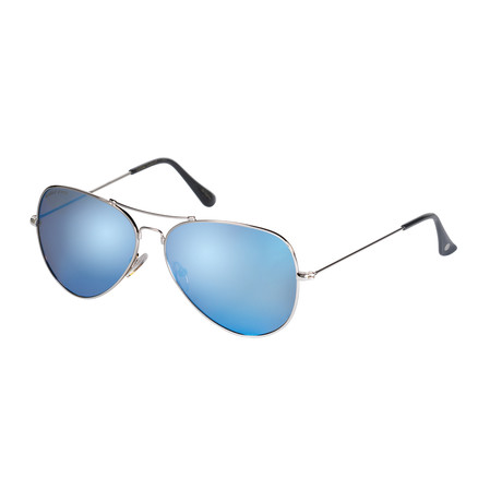 Eagle Eyes Optic // Memory Flex Polarized Sunglasses // Silver + Blue Mirror