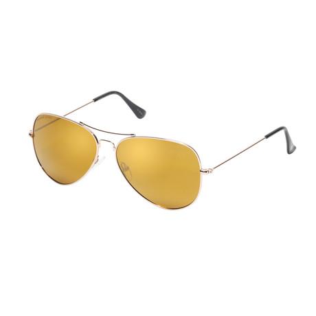 Eagle Eyes Optic // Memory Flex Polarized Sunglasses // Gold + Gold Flash Mirror