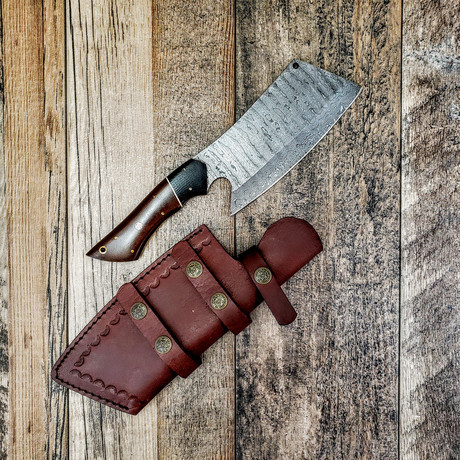 Damascus Chef Cleaver // Two-Tone Micarta Handle