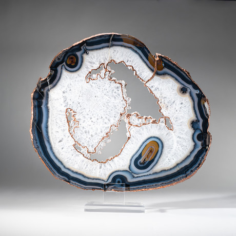 Banded Agate Slice + Acrylic Display Stand