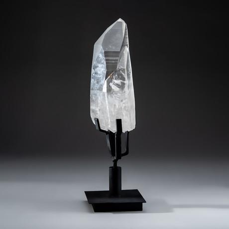 Lemurian Quartz Crystal + Rotating Metal Stand