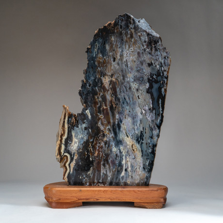 Agate Slice + Wooden Stand
