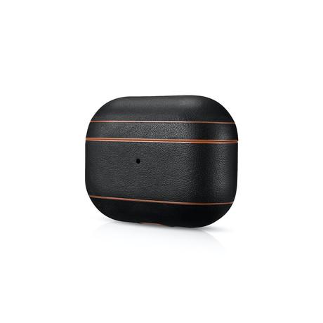 AirPod Pro Leather Case // Black + Brown Trim