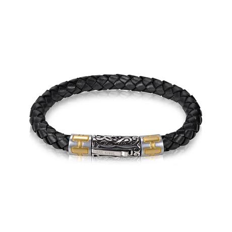 "Braided Leather Bracelet // 6mm // Black (7.5""L)"