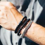 """Leather + Carbon Fiber Bracelet // 6mm // Black (7.5""""L)"""