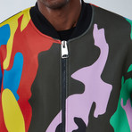 Abstract Bomber Jacket // Multicolor (S)