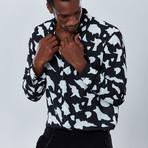 Geometric Button Down Shirt // Black (S)