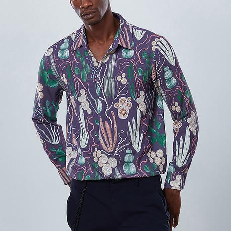Cactus Button Down Shirt // Purple (S)