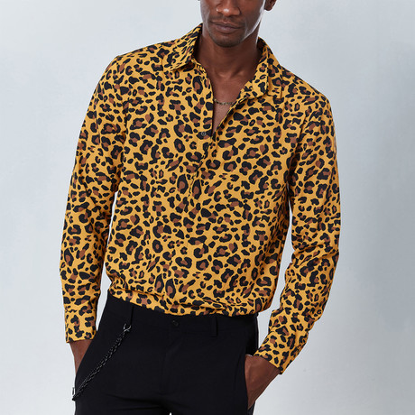 Animal Button Down Shirt // Yellow (S)