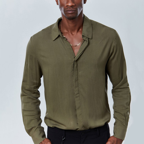 Classic Button Down Shirt // Olive Geen (S)