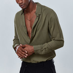 Classic Button Down Shirt // Olive Green (S)