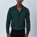 Animal Button Down Shirt // Green (S)