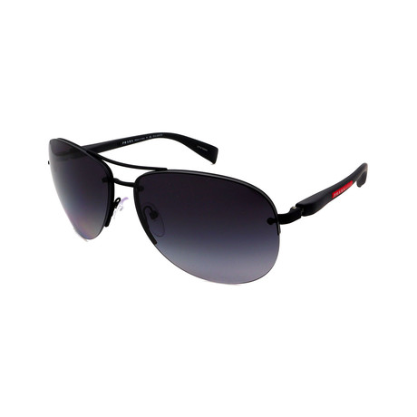 Prada // Men's PS56MS-DG05W1 Pilot Polarized Sunglasses // Matte Black + Gray