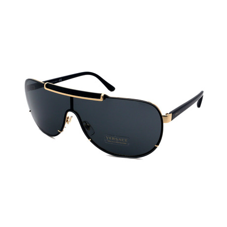 Versace // Men's VE2140-100287 Aviator Full Rim Sunglasses // Black + Gold + Gray