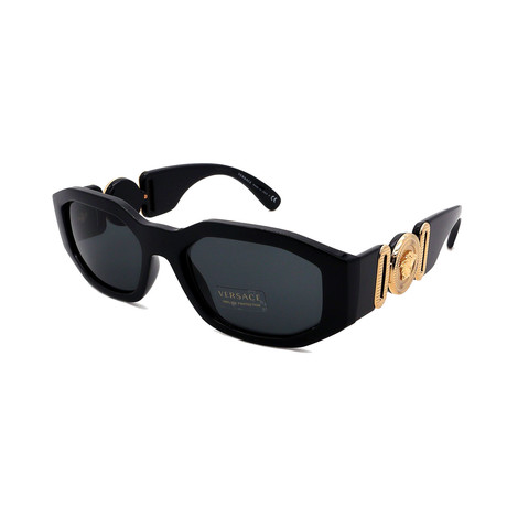 Versace // Men's VE4361-GB187 Oval Sunglasses // Black + Gold + Gray