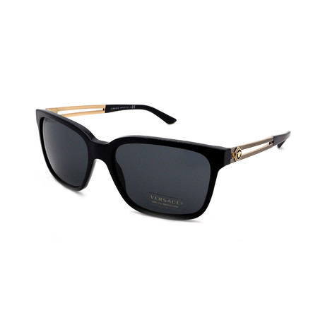 Versace // Men's VE4307-GB187 Square Sunglasses // Black + Gold + Gray