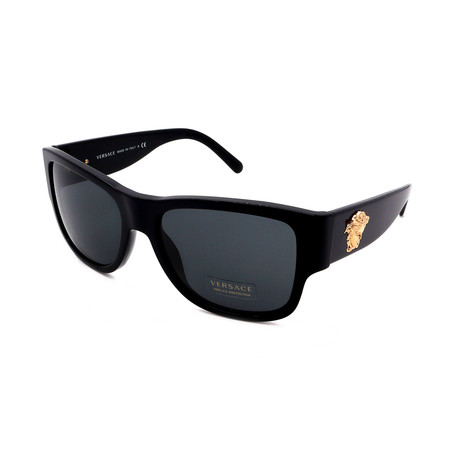 Versace // Men's VE4275-GB187 Square Sunglasses // Shiny Black + Gold + Gray