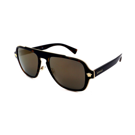 Versace // Men's VE2199-12524T Pilot Sunglasses // Havana + Flash Gold