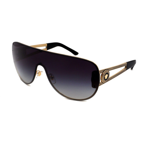 Versace // Men's VE2166-12528G Shield Medusa Logo Sunglasses // Gold + Gray