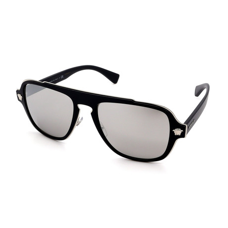 Versace // Men's VE2199-10006G Sunglasses // Matte Black + Silver Mirror