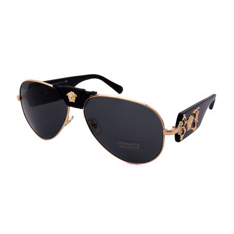 Versace // Men's VE2150Q-100287 Pilot Sunglasses // Black + Gold + Gray