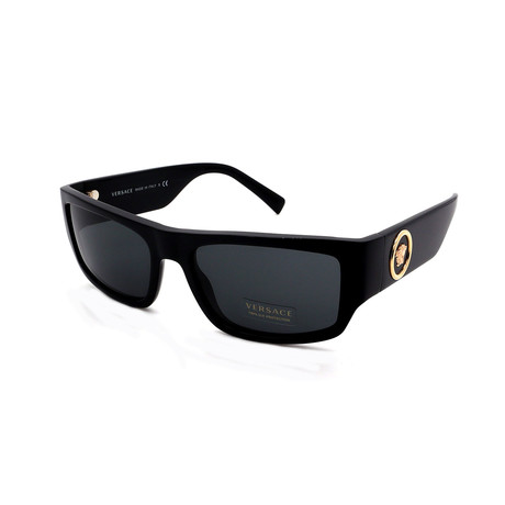 Versace // Men's VE4385-GB187 Rectangular Sunglasses // Shiny Black + Gray
