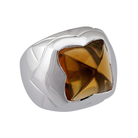 Bulgari 18k White Gold Citrine Pyramid Ring // Ring Size: 7 // Pre-Owned