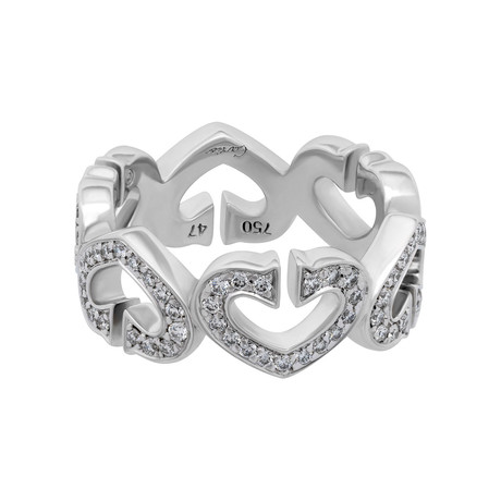 Cartier 18k White Gold Diamond C Heart Ring // Ring Size: 4.75 // Pre-Owned