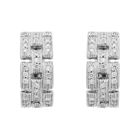 Cartier 18k White Gold Diamond Maillon Panthere Earrings // Pre-Owned