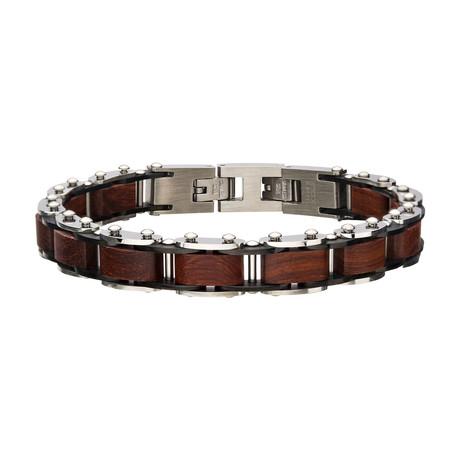 Stainless Steel + Sandal Wood Link Bracelet // Silver + Brown