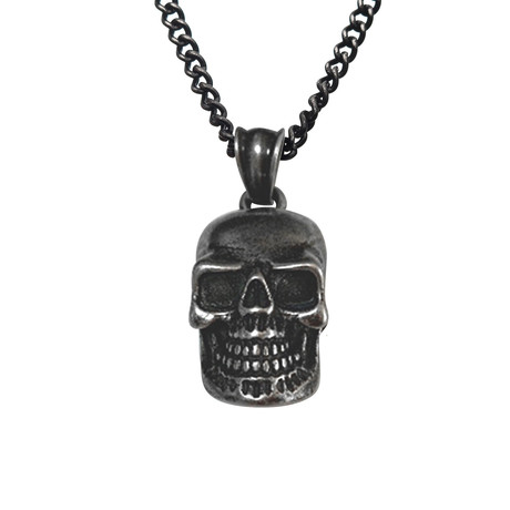 Antiqued Stainless Steel Skull Pendant + Chain // Black