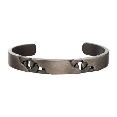 Stainless Steel Curb Bangle // Antique Gunmetal